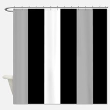 Grey Black And White Stripes Shower Curtain