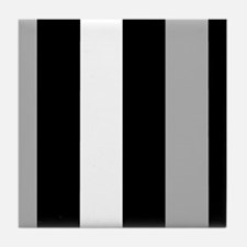 Grey Black And White Stripes Tile Coaster