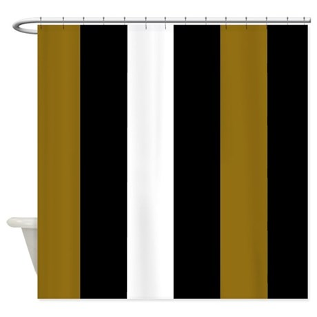 Brown Black And White Stripes Shower Curtain By CoolCutePatterns