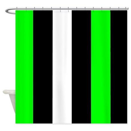 Neon Green Black And White Stripes Shower Curtain By