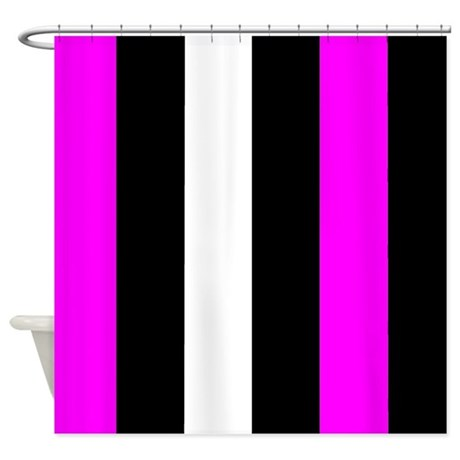Pink Black And White Stripes Shower Curtain By CoolCutePatterns