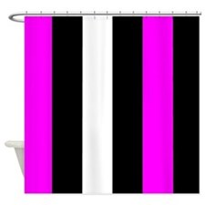 Pink Black And White Stripes Shower Curtain