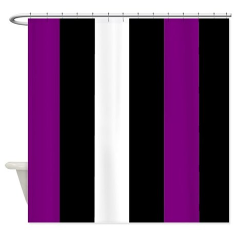 purple black and white stripes shower curtain by