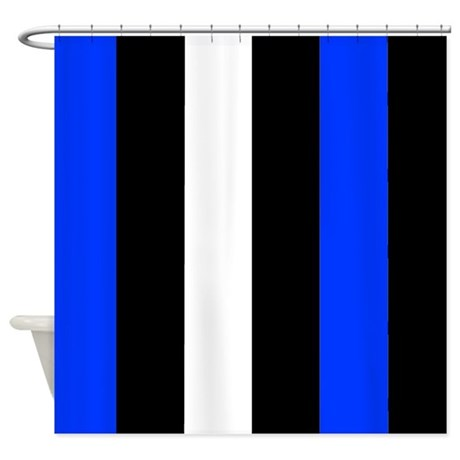 Blue Black And White Stripes Shower Curtain By Coolcutepatterns