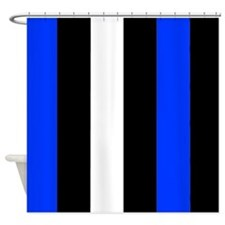 Blue Black And White Stripes Shower Curtain
