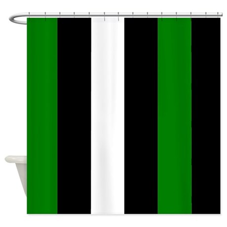 Green Black And White Stripes Shower Curtain By