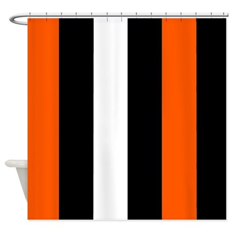 Orange Black And White Stripes Shower Curtain By