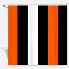 Orange Black And White Stripes Shower Curtain