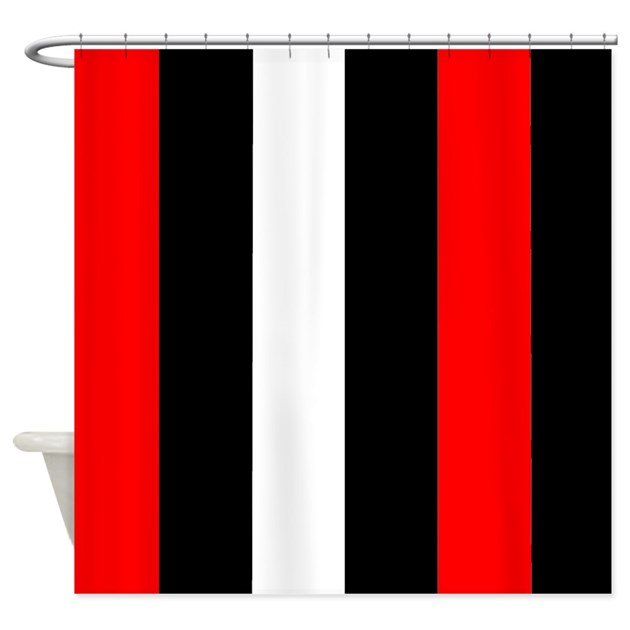 Red Black And White Stripes Shower Curtain by CoolCutePatterns