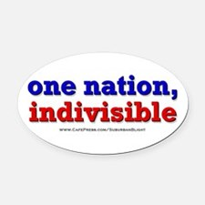 One Nation Indivisible bevmug Oval Car Magnet