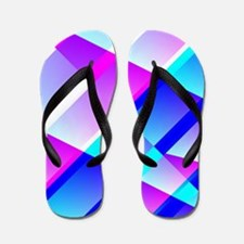 Abstract Retro Blue and Pink Flip Flops