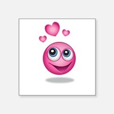 Pink Smiley Face with Hearts Sticker