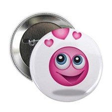 "Pink Smiley Face with Hearts 2.25"" Button"