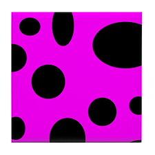 Black Bubbles On Pink Tile Coaster