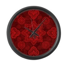 Asian Red Musing Large Wall Clock