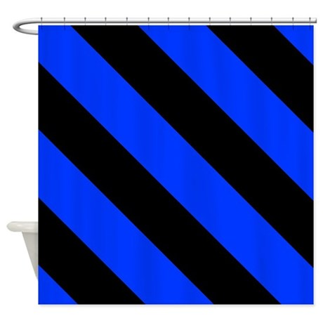 Black And Blue Barber Stripes Shower Curtain By Coolcutepatterns