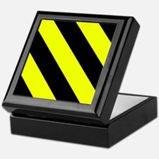 Black And Yellow Barber Stripes Keepsake Box