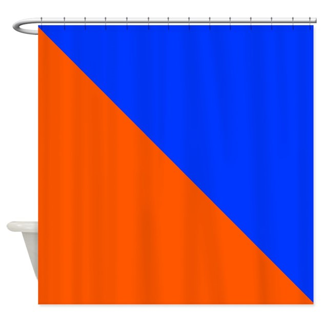 orange and blue halves shower curtain by coolcutepatterns. Black Bedroom Furniture Sets. Home Design Ideas