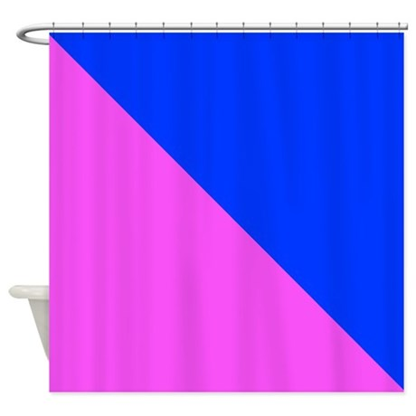 Pink And Blue Halves Shower Curtain By CoolCutePatterns