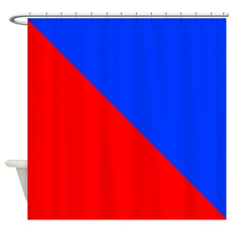Red And Blue Halves Shower Curtain By CoolCutePatterns