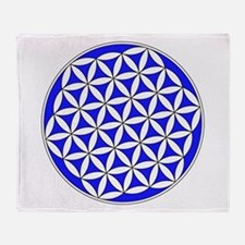 Flower Of Life Blue Throw Blanket