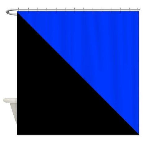 Black And Blue Halves Shower Curtain By Coolcutepatterns