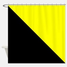 Black And Yellow Halves Shower Curtain