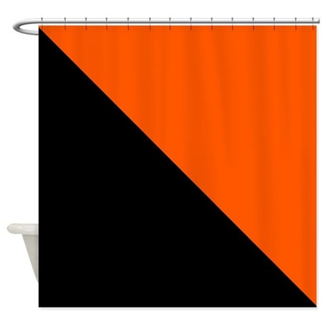 Black And Orange Halves Shower Curtain By CoolCutePatterns