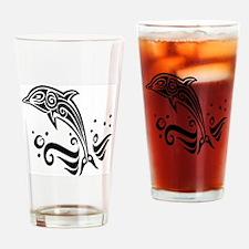 Tribal Tattoo Dolphin Drinking Glass