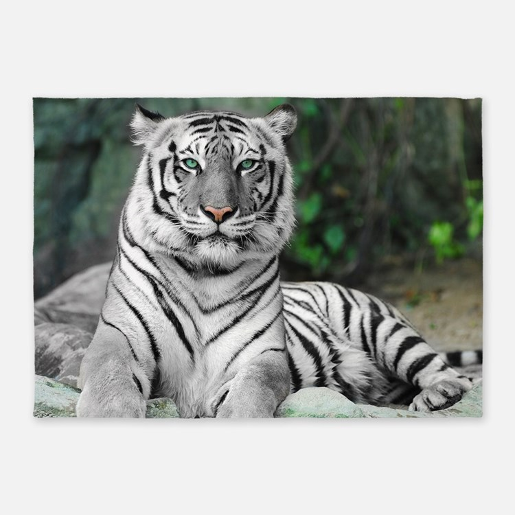 White Tiger 5'X7'area Rug
