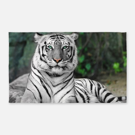 White Tiger 3'X5' Area Rug