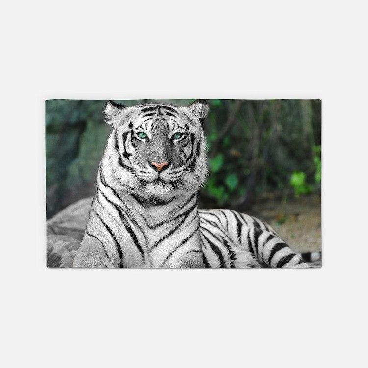 White Tiger 3'X5' Area Rug