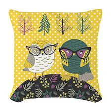 Trendy Owls Woven Throw Pillow