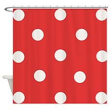 White Polka Dots Shower Curtain