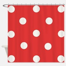 White Polka Dots Shower Curtain