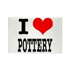 I Heart (Love) Pottery Rectangle Magnet