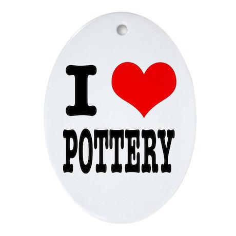 I Heart (Love) Pottery Oval Ornament