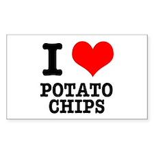 I Heart (Love) Potato Chips Rectangle Decal