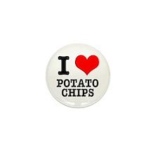 I Heart (Love) Potato Chips Mini Button (10 pack)