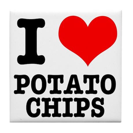 I Heart (Love) Potato Chips Tile Coaster