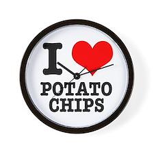 I Heart (Love) Potato Chips Wall Clock