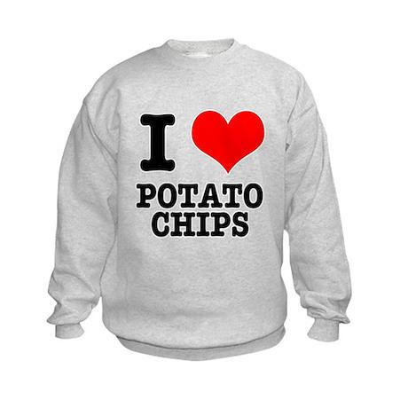 I Heart (Love) Potato Chips Kids Sweatshirt