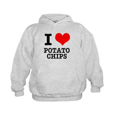 I Heart (Love) Potato Chips Kids Hoodie