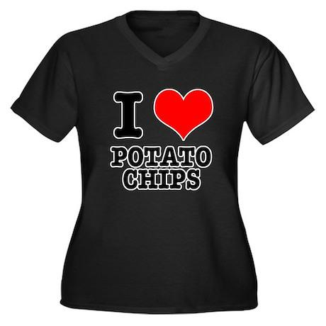 I Heart (Love) Potato Chips Women's Plus Size V-Ne