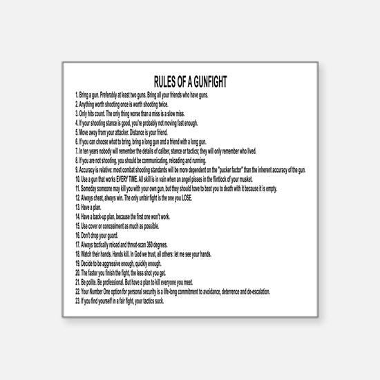 "23 Rules Of A Gun Fight Square Sticker 3"" x 3"""