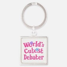 Worlds Cutest Debater Square Keychain