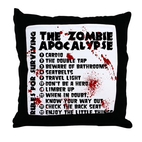 Zombie Apocalypse Rules Throw Pillow by ZomBience