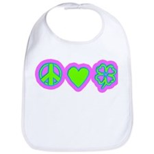 Irish Peace Love Lucky Shamrock Bib