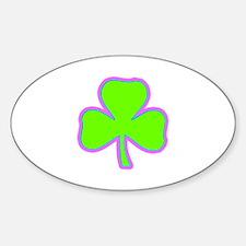 Irish Lucky Shamrock Sticker (Oval)