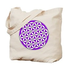 Flower of Life Purple Tote Bag